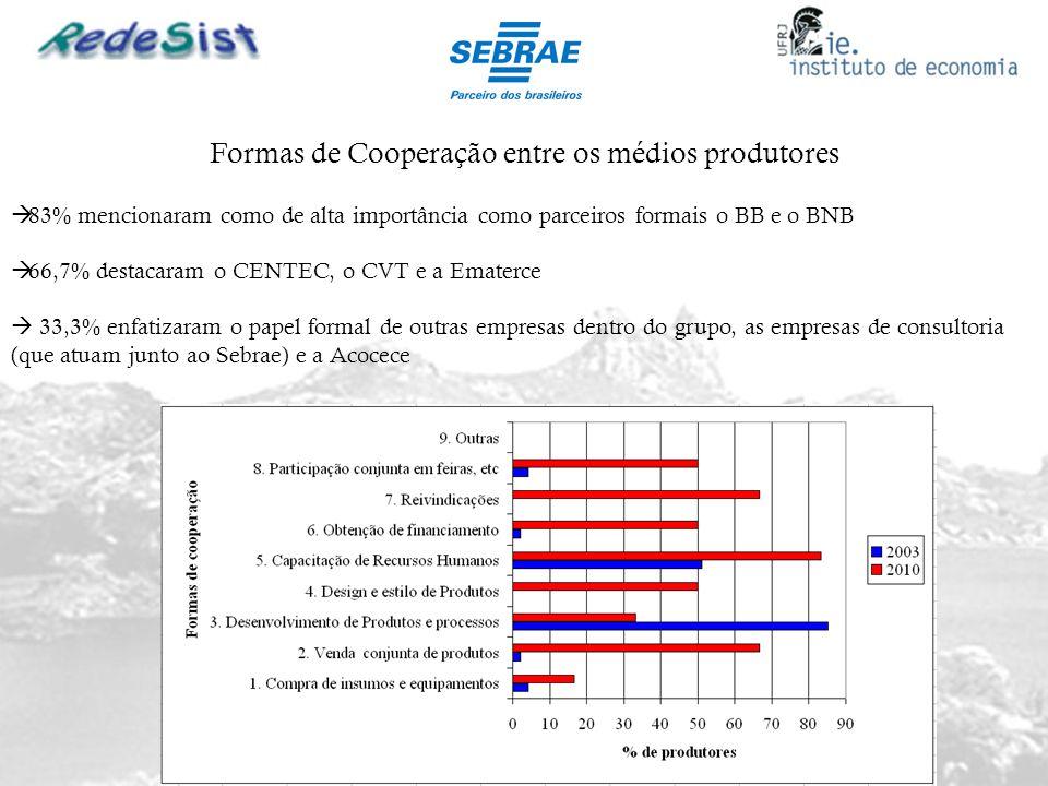 Formas de Cooperação entre os médios produtores 83% mencionaram como de alta importância como parceiros formais o BB e o BNB 66,7% destacaram o CENTEC