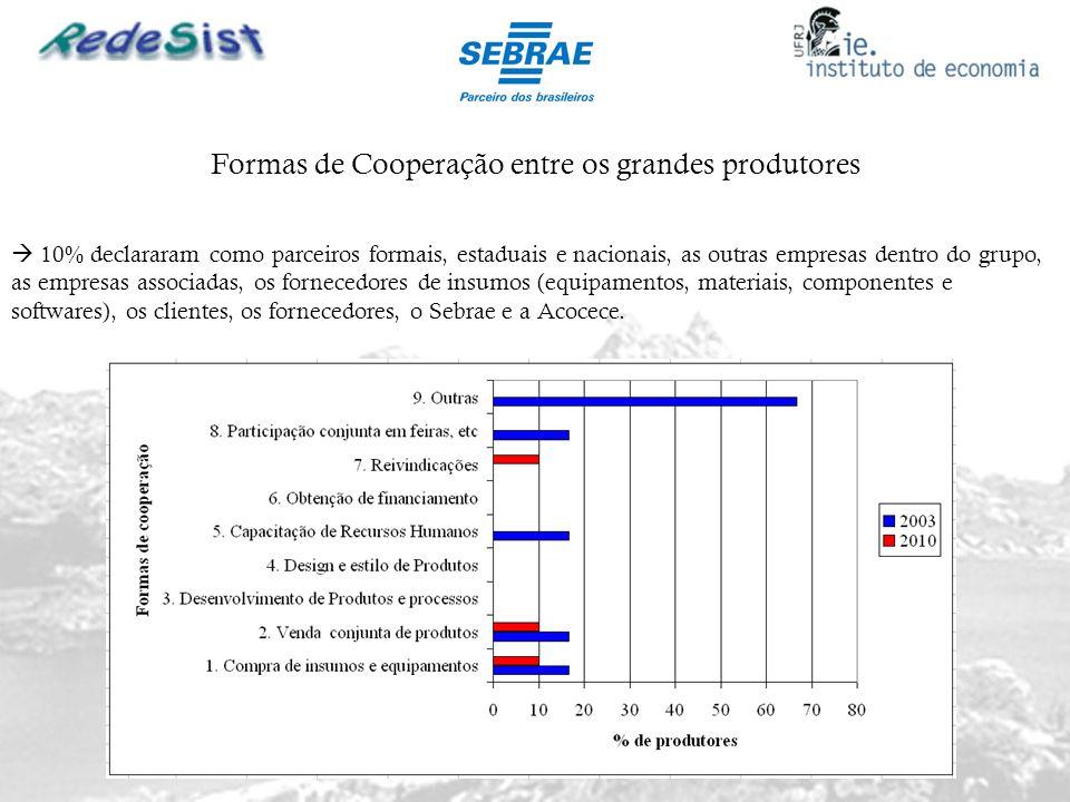 Formas de Cooperação entre os grandes produtores 10% declararam como parceiros formais, estaduais e nacionais, as outras empresas dentro do grupo, as