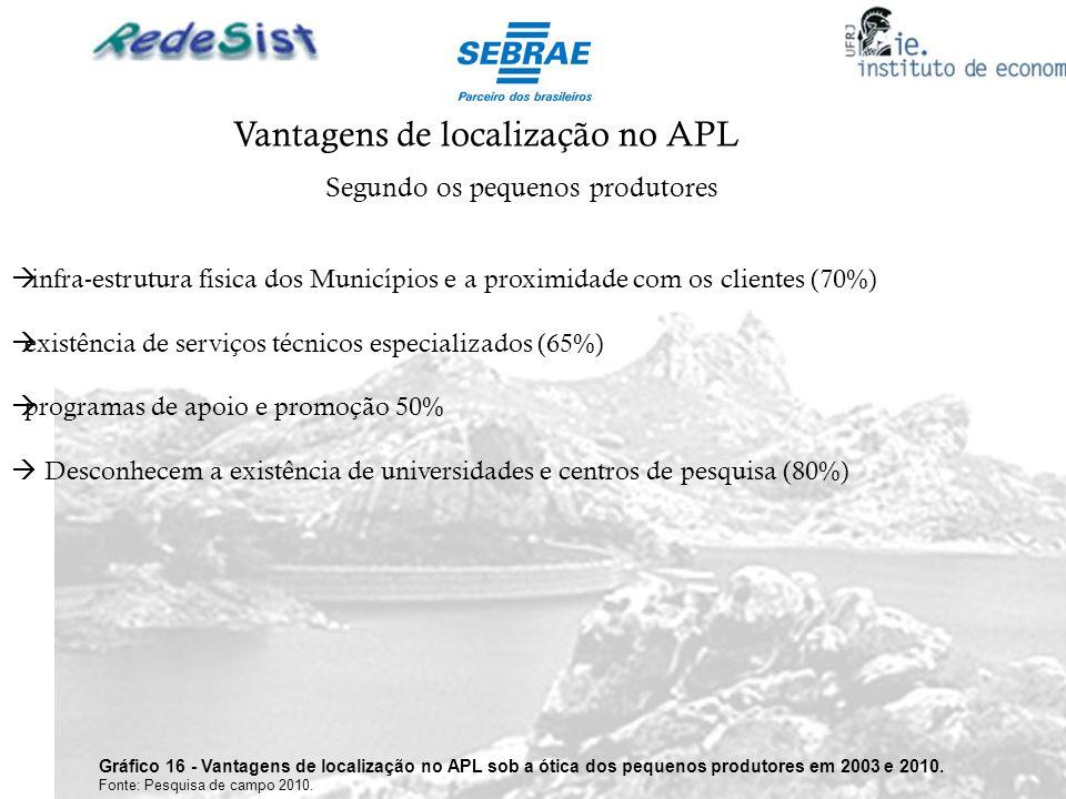 Vantagens de localização no APL Segundo os pequenos produtores Gráfico 16 - Vantagens de localização no APL sob a ótica dos pequenos produtores em 200