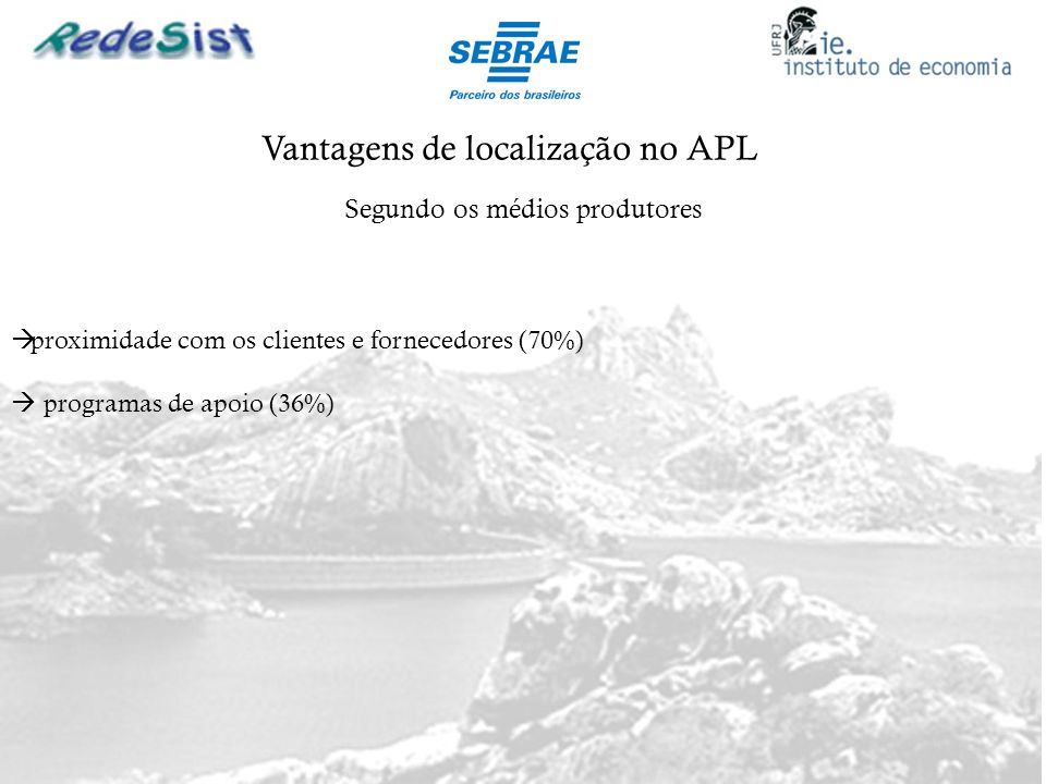 Vantagens de localização no APL Segundo os médios produtores proximidade com os clientes e fornecedores (70%) programas de apoio (36%)