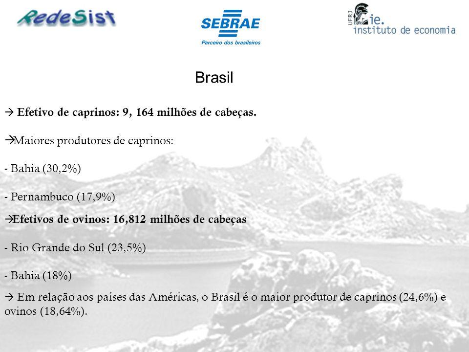 Brasil Efetivo de caprinos: 9, 164 milhões de cabeças. Maiores produtores de caprinos: - Bahia (30,2%) - Pernambuco (17,9%) Efetivos de ovinos: 16,812