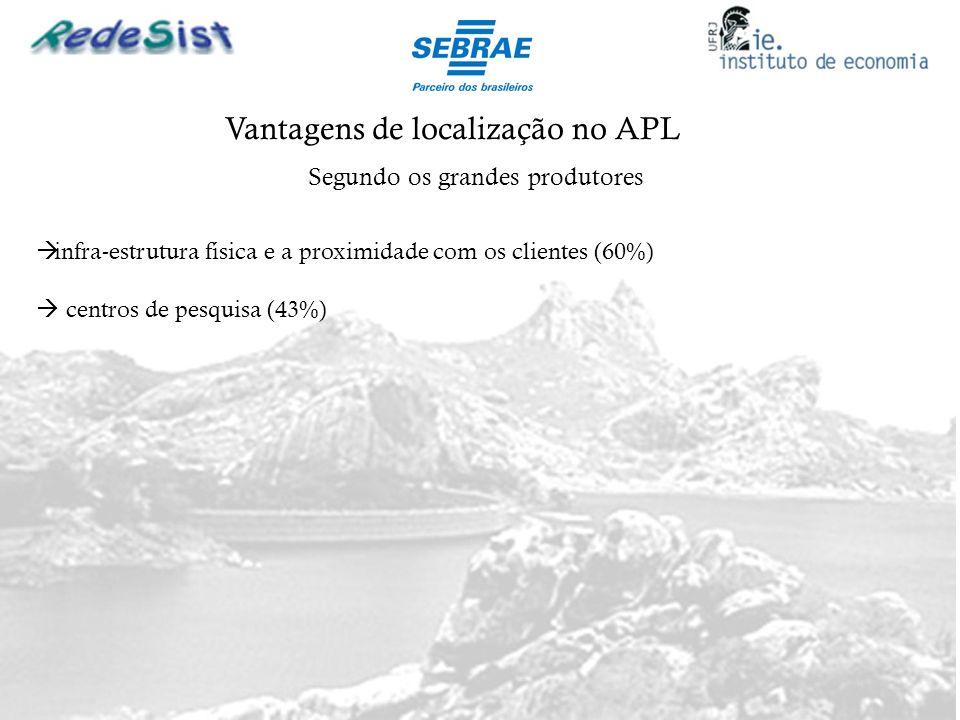 Vantagens de localização no APL Segundo os grandes produtores infra-estrutura física e a proximidade com os clientes (60%) centros de pesquisa (43%)