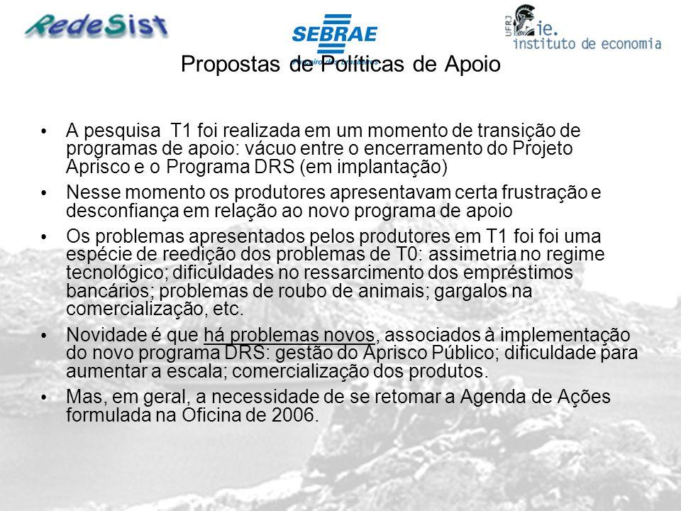 Desen Propostas de Políticas de Apoio A pesquisa T1 foi realizada em um momento de transição de programas de apoio: vácuo entre o encerramento do Proj