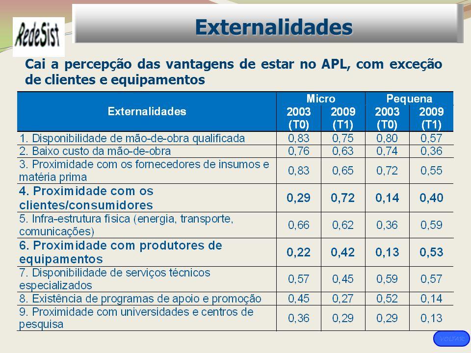 Cai a percepção das vantagens de estar no APL, com exceção de clientes e equipamentos Externalidades