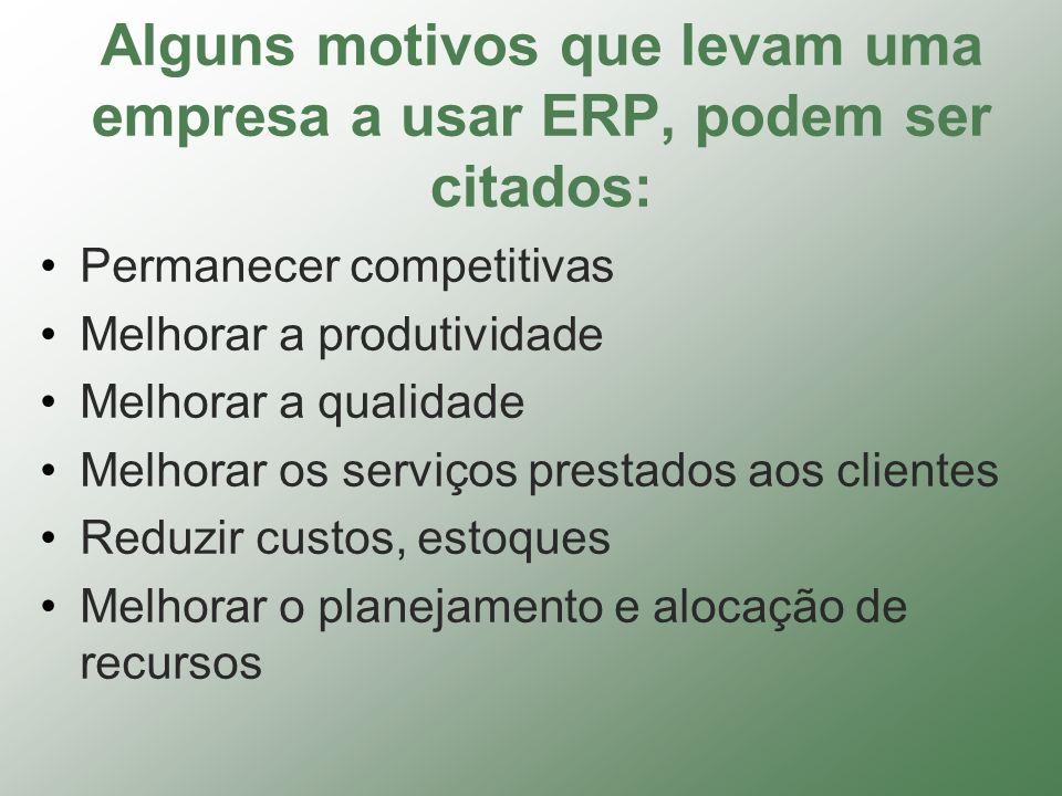 Alguns motivos que levam uma empresa a usar ERP, podem ser citados: Permanecer competitivas Melhorar a produtividade Melhorar a qualidade Melhorar os