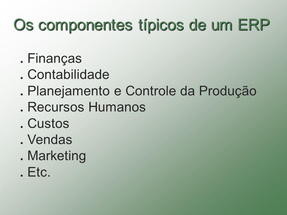 Os componentes típicos de um ERP. Finanças. Contabilidade. Planejamento e Controle da Produção. Recursos Humanos. Custos. Vendas. Marketing. Etc.