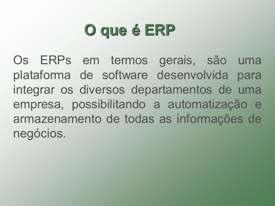 Os ERPs em termos gerais, são uma plataforma de software desenvolvida para integrar os diversos departamentos de uma empresa, possibilitando a automat