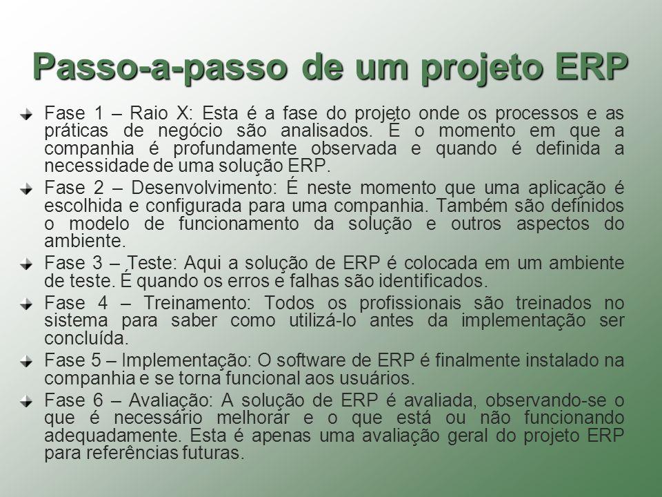 Passo-a-passo de um projeto ERP Fase 1 – Raio X: Esta é a fase do projeto onde os processos e as práticas de negócio são analisados. É o momento em qu