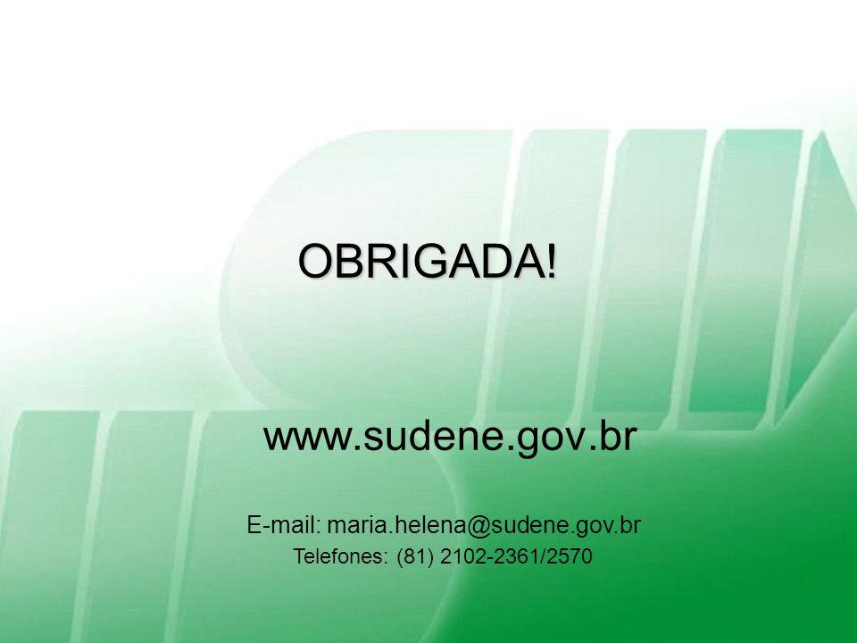 Superintendência do Desenvolvimento do Nordeste Salvador, 15-Setembro-2010 Ministério da Integração Nacional OBRIGADA! www.sudene.gov.br E-mail: maria