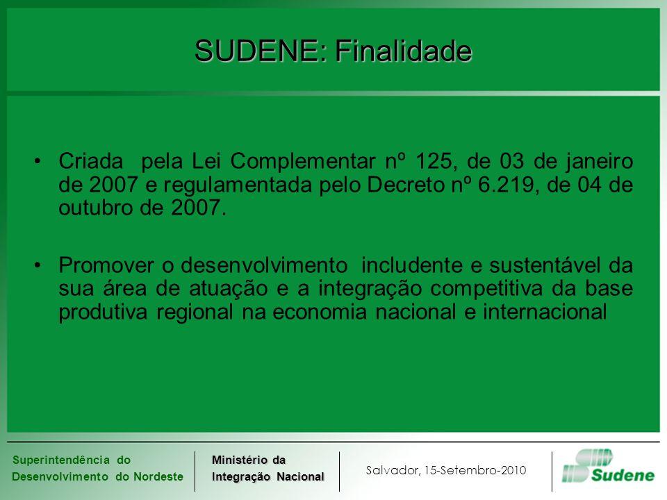 Superintendência do Desenvolvimento do Nordeste Salvador, 15-Setembro-2010 Ministério da Integração Nacional SUDENE: Finalidade Criada pela Lei Comple