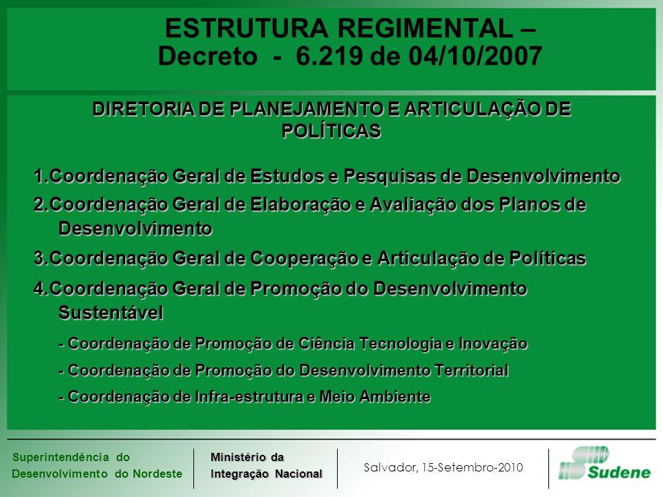 Superintendência do Desenvolvimento do Nordeste Salvador, 15-Setembro-2010 Ministério da Integração Nacional ESTRUTURA REGIMENTAL – Decreto - 6.219 de