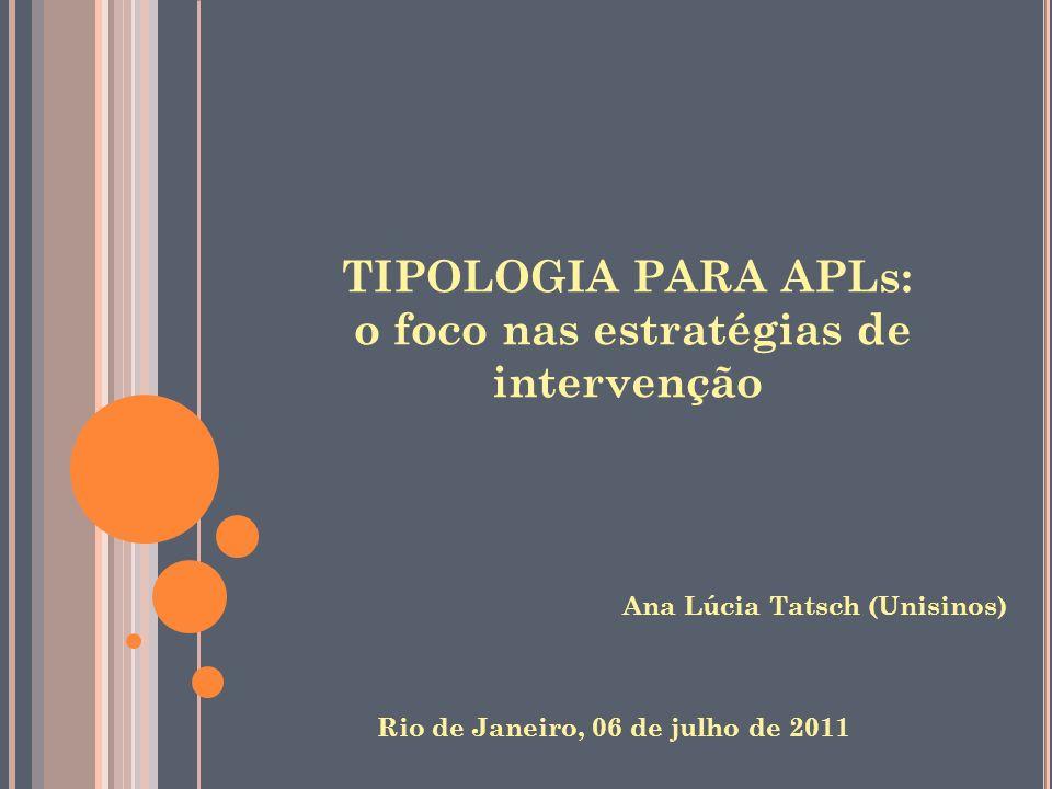 TIPOLOGIA PARA APLs: o foco nas estratégias de intervenção Ana Lúcia Tatsch (Unisinos) Rio de Janeiro, 06 de julho de 2011