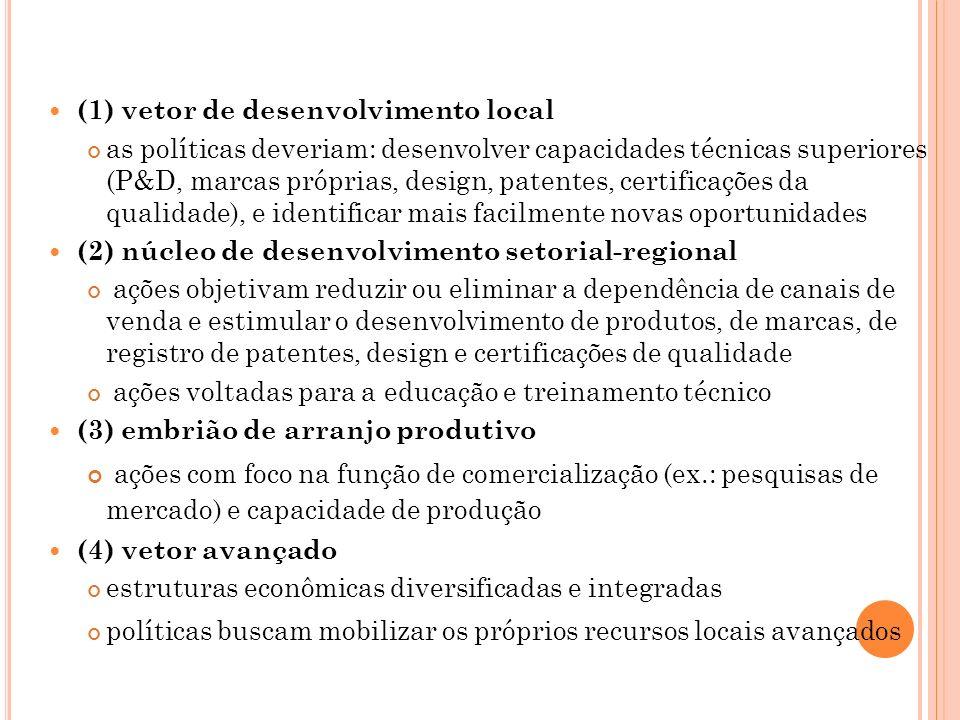 (1) vetor de desenvolvimento local as políticas deveriam: desenvolver capacidades técnicas superiores (P&D, marcas próprias, design, patentes, certifi
