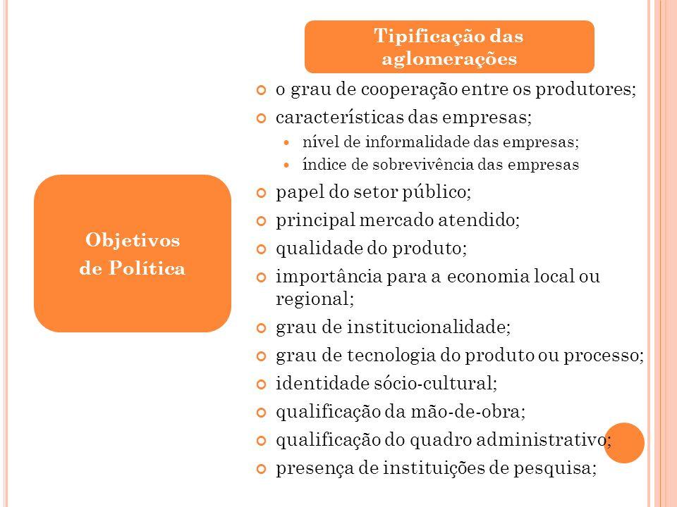 o grau de cooperação entre os produtores; características das empresas; nível de informalidade das empresas; índice de sobrevivência das empresas pape