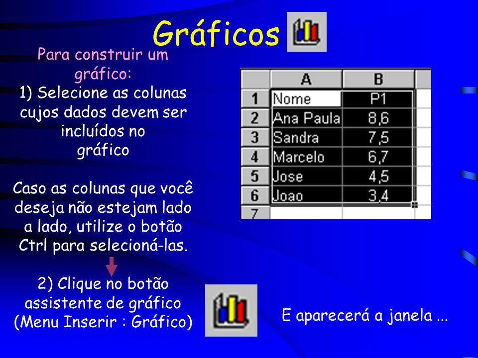 Gráficos Para construir um gráfico: 1) Selecione as colunas cujos dados devem ser incluídos no gráfico Caso as colunas que você deseja não estejam lad