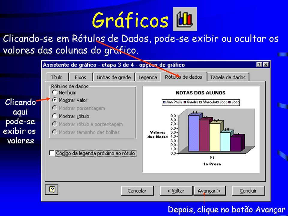 Gráficos Clicando-se em Rótulos de Dados, pode-se exibir ou ocultar os valores das colunas do gráfico. Clicando aqui pode-se exibir os valores Depois,