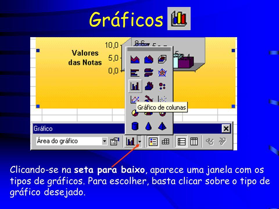 Gráficos Clicando-se na seta para baixo, aparece uma janela com os tipos de gráficos. Para escolher, basta clicar sobre o tipo de gráfico desejado.