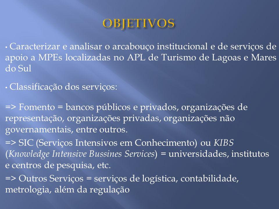 Caracterizar e analisar o arcabouço institucional e de serviços de apoio a MPEs localizadas no APL de Turismo de Lagoas e Mares do Sul Classificação d