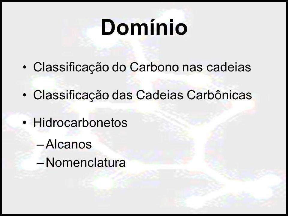 Domínio Classificação do Carbono nas cadeias Classificação das Cadeias Carbônicas Hidrocarbonetos –Alcanos –Nomenclatura