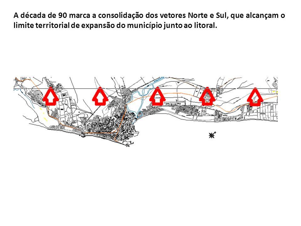A década de 90 marca a consolidação dos vetores Norte e Sul, que alcançam o limite territorial de expansão do município junto ao litoral.