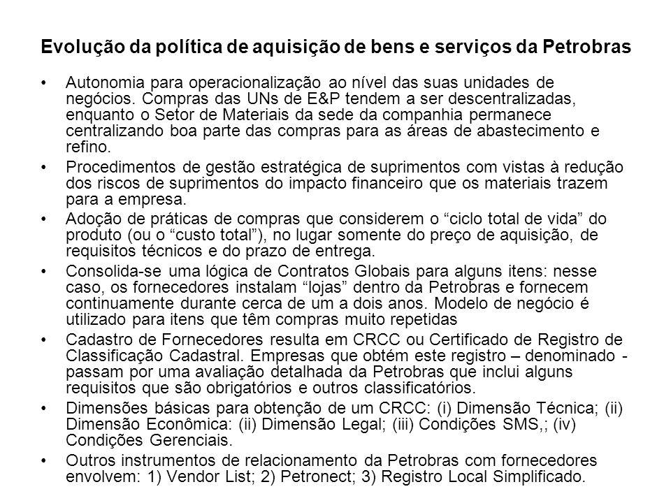 Evolução da política de aquisição de bens e serviços da Petrobras Autonomia para operacionalização ao nível das suas unidades de negócios. Compras das