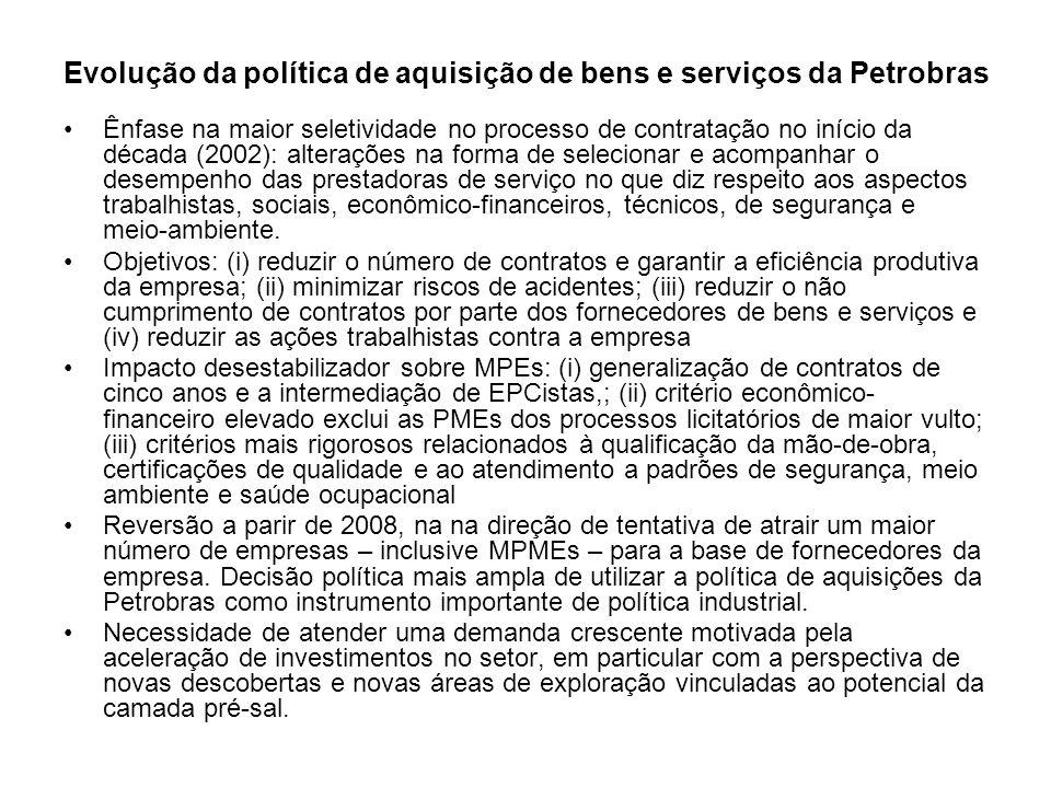 Evolução da política de aquisição de bens e serviços da Petrobras Ênfase na maior seletividade no processo de contratação no início da década (2002):