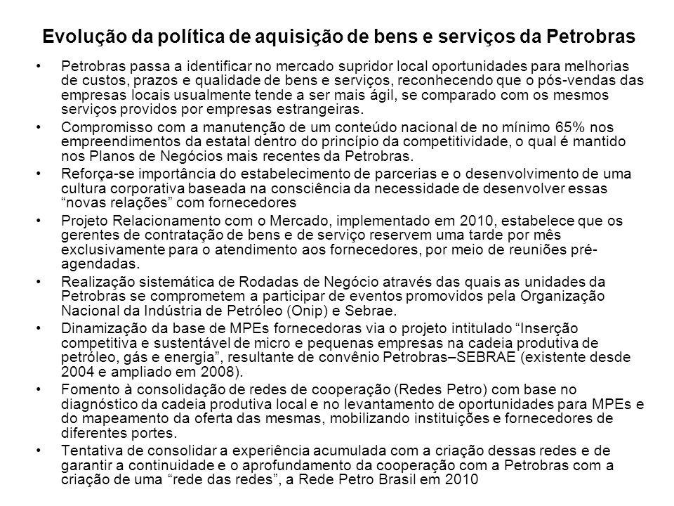Evolução da política de aquisição de bens e serviços da Petrobras Petrobras passa a identificar no mercado supridor local oportunidades para melhorias