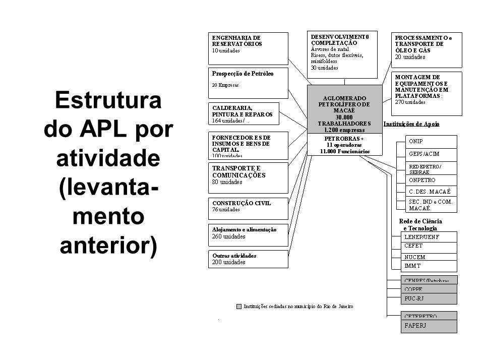 Estrutura do APL por atividade (levanta- mento anterior)