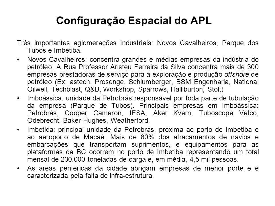 Configuração Espacial do APL Três importantes aglomerações industriais: Novos Cavalheiros, Parque dos Tubos e Imbetiba. Novos Cavalheiros: concentra g