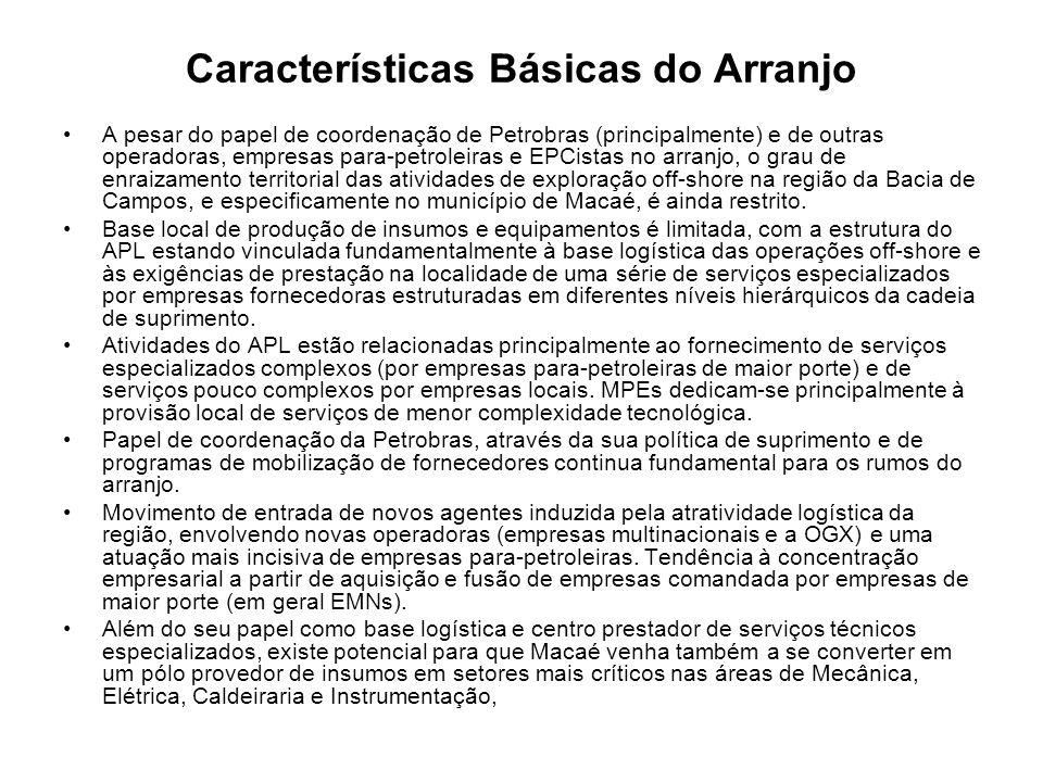 Características Básicas do Arranjo A pesar do papel de coordenação de Petrobras (principalmente) e de outras operadoras, empresas para-petroleiras e E