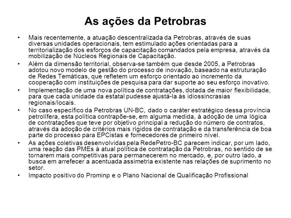 As ações da Petrobras Mais recentemente, a atuação descentralizada da Petrobras, através de suas diversas unidades operacionais, tem estimulado ações