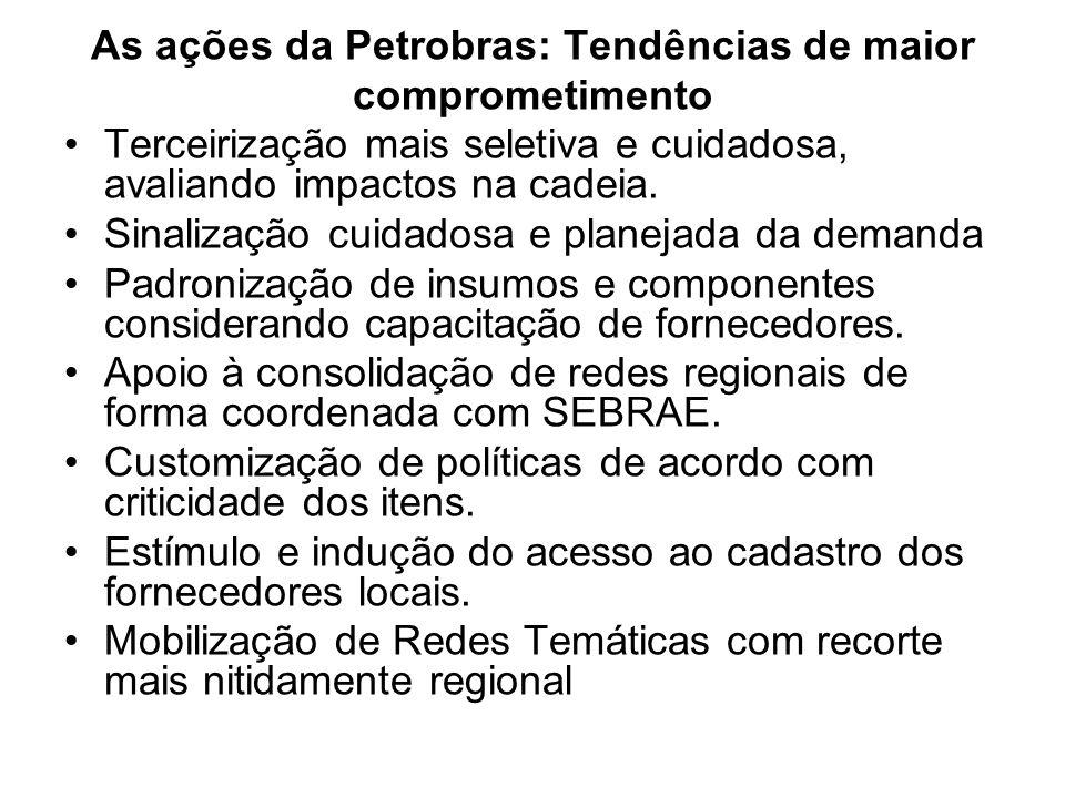 As ações da Petrobras: Tendências de maior comprometimento Terceirização mais seletiva e cuidadosa, avaliando impactos na cadeia. Sinalização cuidados