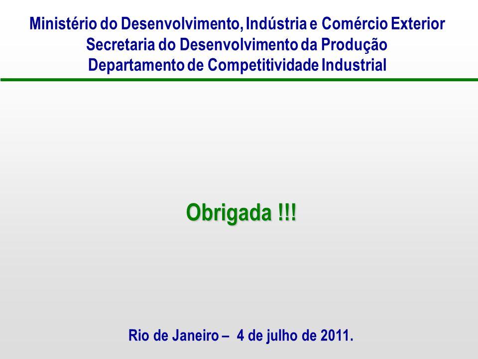 Ministério do Desenvolvimento, Indústria e Comércio Exterior Secretaria do Desenvolvimento da Produção Departamento de Competitividade Industrial Rio de Janeiro – 4 de julho de 2011.