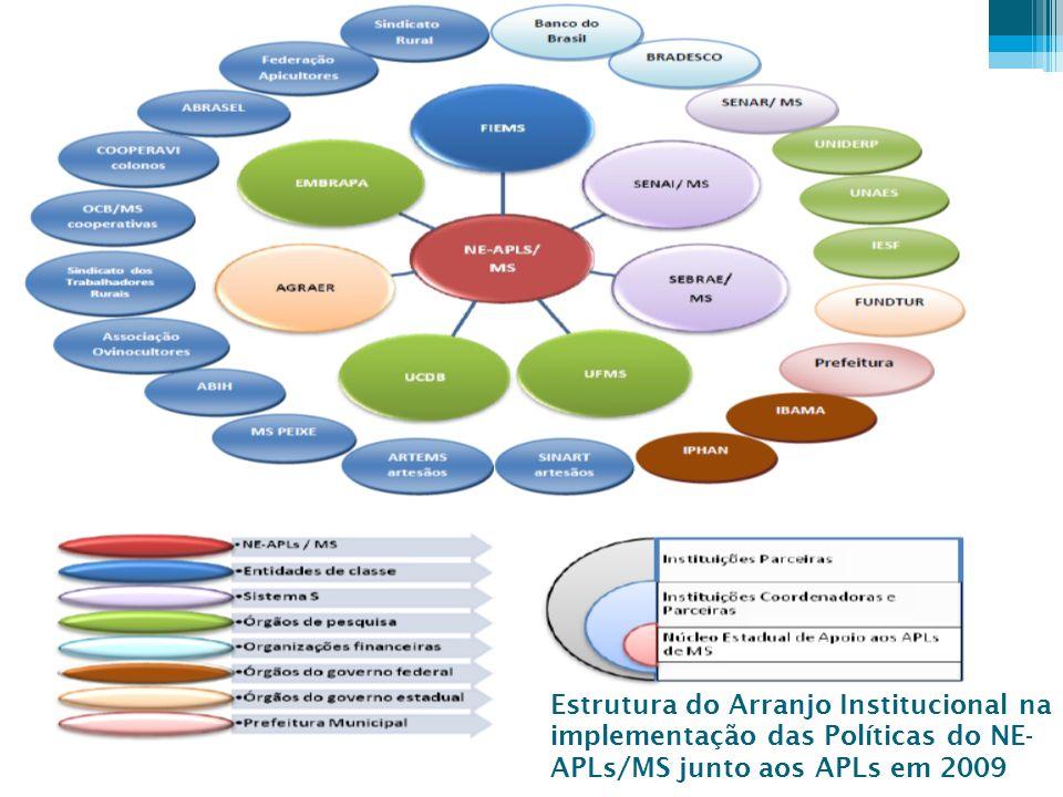 Estrutura do Arranjo Institucional na implementação das Políticas do NE- APLs/MS junto aos APLs em 2009