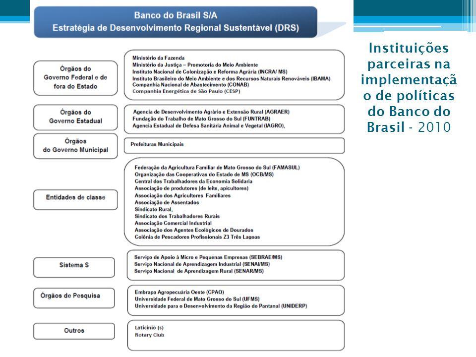 Instituições parceiras na implementaçã o de políticas do Banco do Brasil - 2010