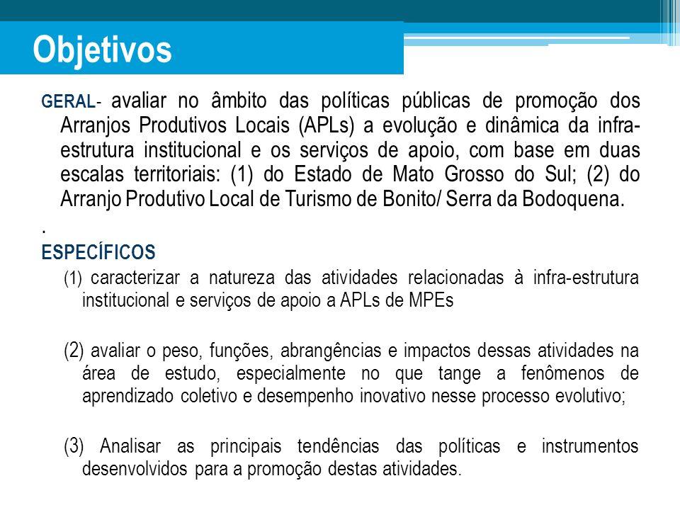 Objetivos GERAL - avaliar no âmbito das políticas públicas de promoção dos Arranjos Produtivos Locais (APLs) a evolução e dinâmica da infra- estrutura
