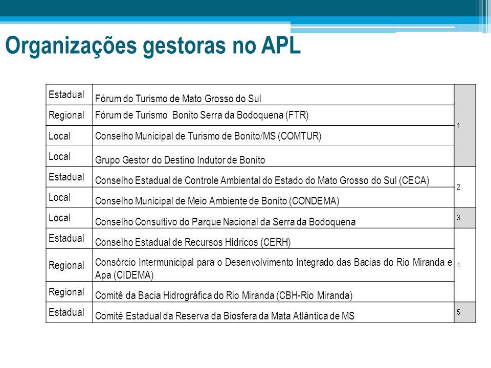 Organizações gestoras no APL Estadual Fórum do Turismo de Mato Grosso do Sul 1 RegionalFórum de Turismo Bonito Serra da Bodoquena (FTR) LocalConselho