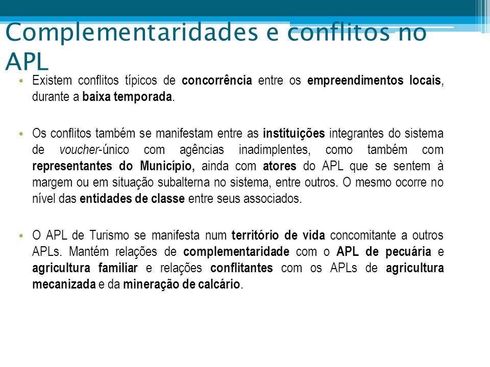 Complementaridades e conflitos no APL Existem conflitos típicos de concorrência entre os empreendimentos locais, durante a baixa temporada. Os conflit