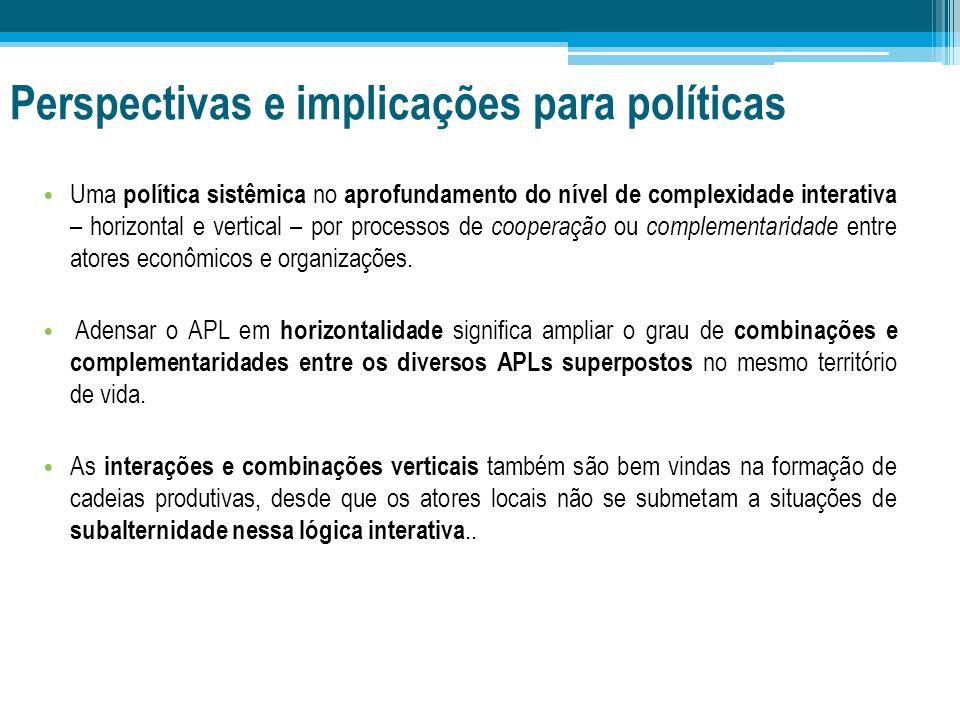 Perspectivas e implicações para políticas Uma política sistêmica no aprofundamento do nível de complexidade interativa – horizontal e vertical – por p