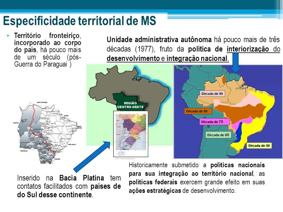 Especificidade territorial de MS Território fronteiriço, incorporado ao corpo do país, há pouco mais de um século (pós- Guerra do Paraguai ) Inserido