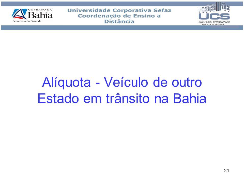 21 Alíquota - Veículo de outro Estado em trânsito na Bahia