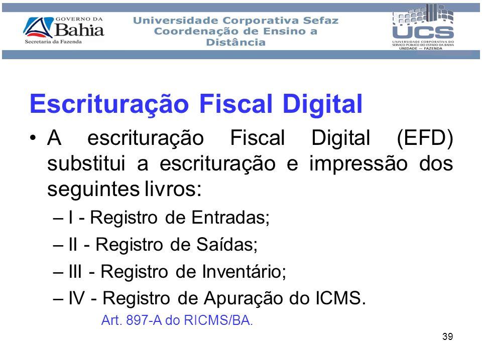 40 Obrigatoriedade: –A partir de 01 de janeiro de 2009, a EFD passou a ser obrigatório para os estabelecimentos dos contribuintes do ICMS inscritos no cadastro estadual, relacionados no anexo V do Protocolo ICMS 77/08.(site CONFAZ) Art.