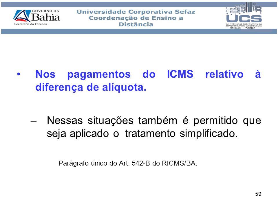 59 Nos pagamentos do ICMS relativo à diferença de alíquota. –Nessas situações também é permitido que seja aplicado o tratamento simplificado. Parágraf