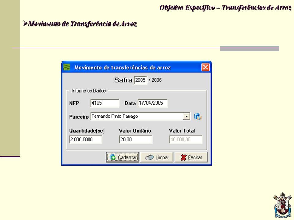 Objetivo Específico – Transferências de Arroz Movimento de Transferência de Arroz Movimento de Transferência de Arroz