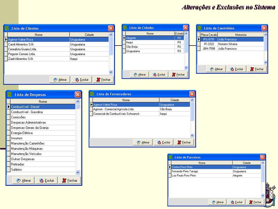 Alterações e Exclusões no Sistema