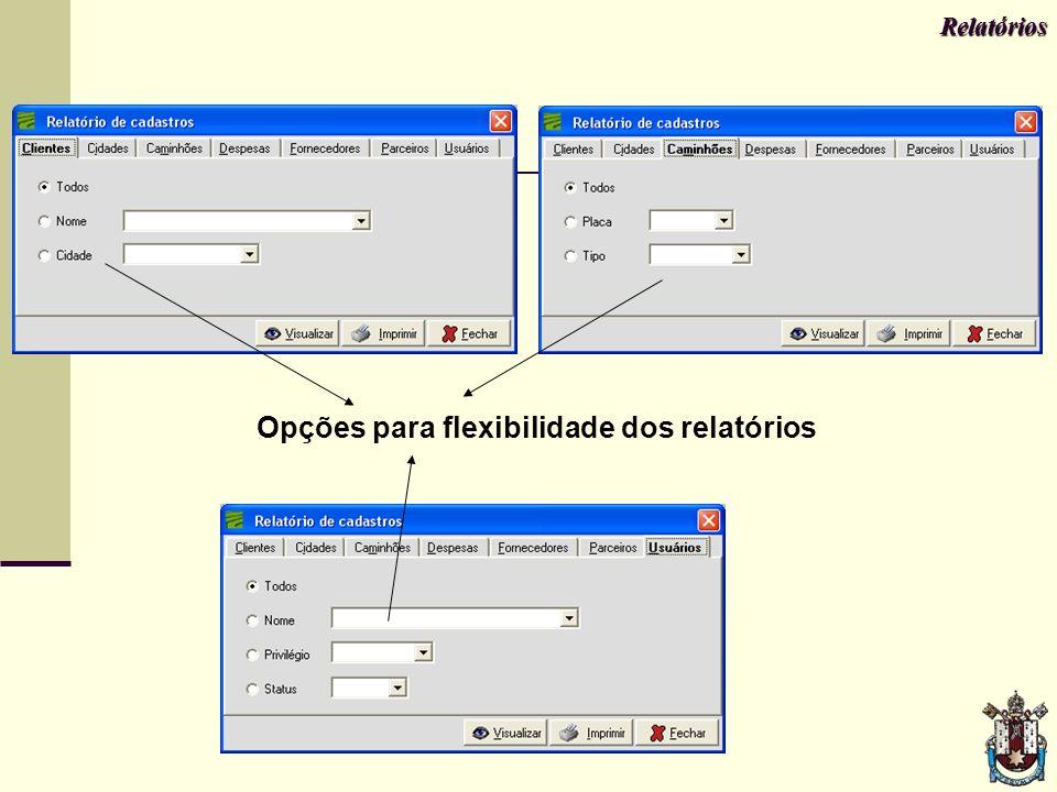 Relatórios Opções para flexibilidade dos relatórios