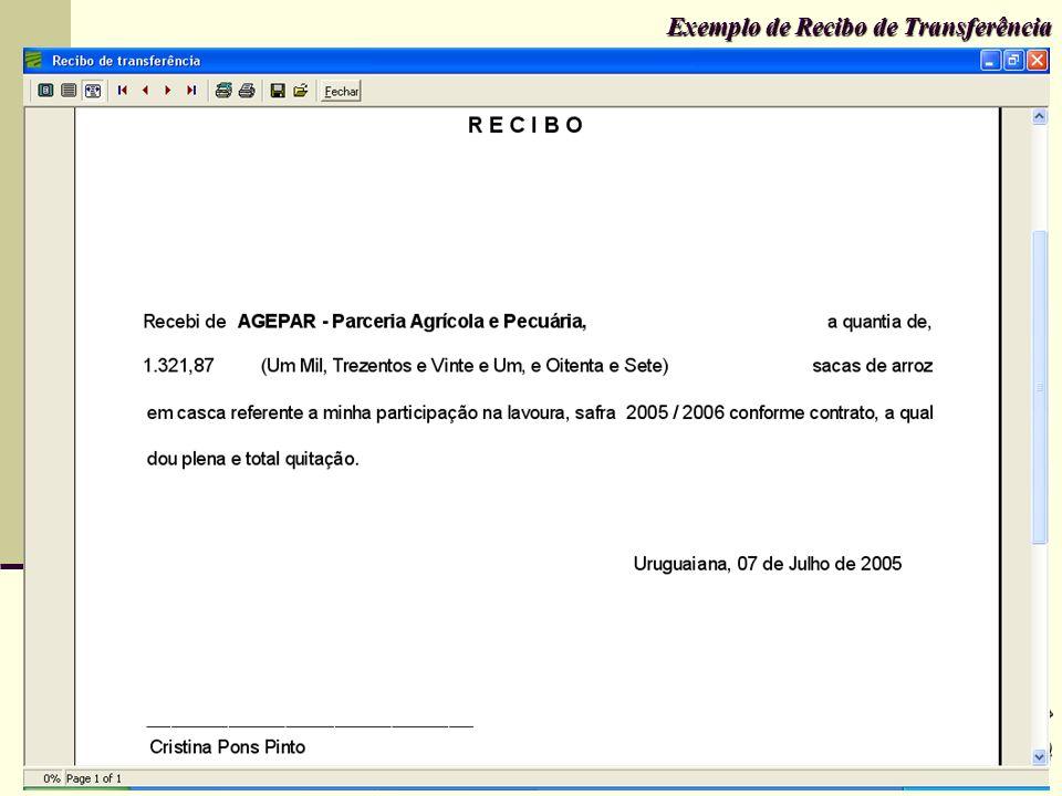 Exemplo de Recibo de Transferência