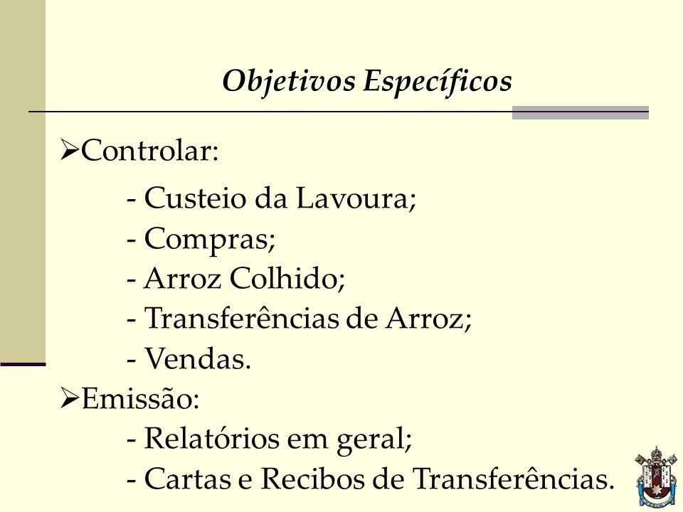 Objetivos Específicos Controlar: - Custeio da Lavoura; - Compras; - Arroz Colhido; - Transferências de Arroz; - Vendas. Emissão: - Relatórios em geral