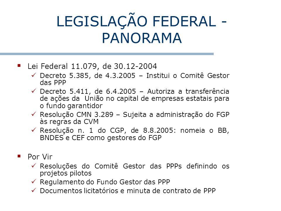 LEGISLAÇÃO FEDERAL - PANORAMA Lei Federal 11.079, de 30.12-2004 Decreto 5.385, de 4.3.2005 – Institui o Comitê Gestor das PPP Decreto 5.411, de 6.4.20
