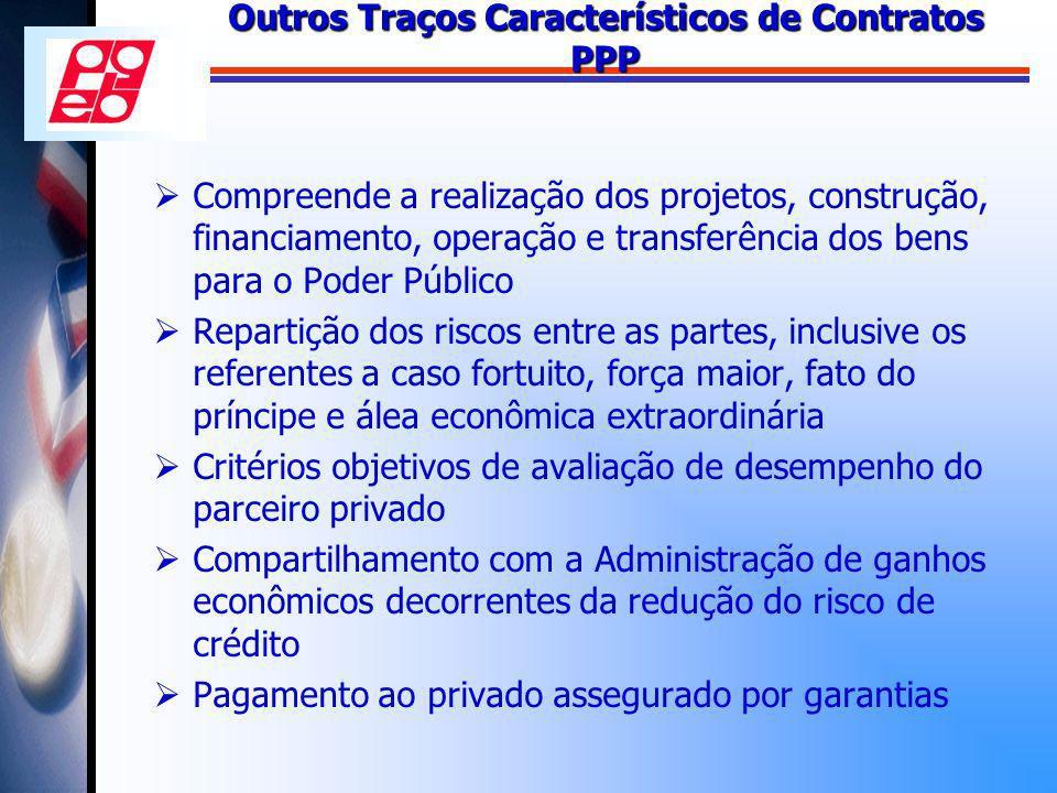 Outros Traços Característicos de Contratos PPP Compreende a realização dos projetos, construção, financiamento, operação e transferência dos bens para